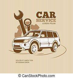 Retro car service vector poster