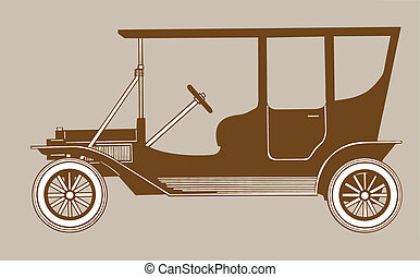 retro car silhouette on brown background, vector illustration