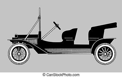 retro car silhouette on gray background