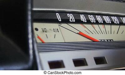 Retro car speedometer.