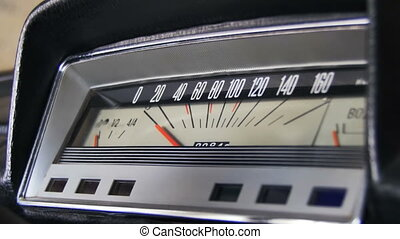 Retro car speedometer.