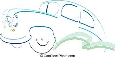 Retro car symbol design silhouette