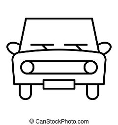 Retro car thin line icon. Classic car vector illustration isolated on white. Auto outline style design, designed for web and app. Eps 10.