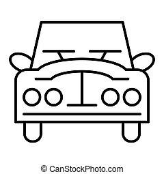 Retro car thin line icon. Vintage car vector illustration isolated on white. Auto outline style design, designed for web and app. Eps 10.