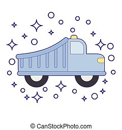Retro car tip truck vintage isolated. Side view. Vector flat...