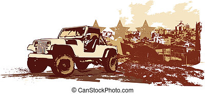 retro car - vector illustration of stilyzed vintage military...