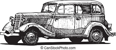 retro car - Vector drawing of vintage car stylized as...