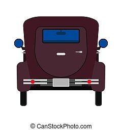 Retro car vector flat icon back view. Classic automobile engine. Vintage cartoon vehicle nostalgia. Muscle machine club