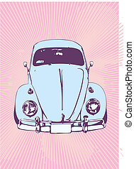 retro car - vector illustration of old custom Volkswagen...