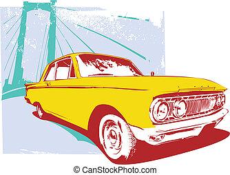 retro car - Vector Illustration of old vintage custom ...