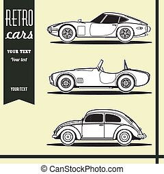 Retro car vector illustration set