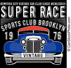 Retro car. Vintage car. Sport car.