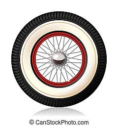 Retro car wheel. - A detailed illustration of the retro...
