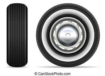 Retro car wheels vector illustration