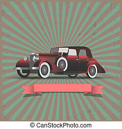 Retro car with ribbon-banner