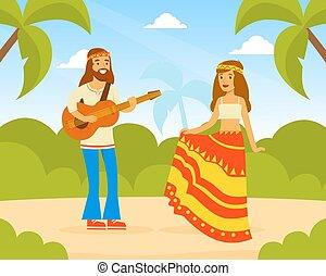 retro, caractères, danse, homme, guitare jouer, porter, 60s, paysage, illustration, femme, hippie, été, jeune, vêtements, gens, vecteur, 70s, heureux