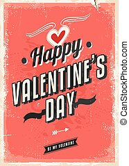 Retro card design for Valentines Day. Vector illustration.