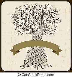 Retro card with abstract curling tree.