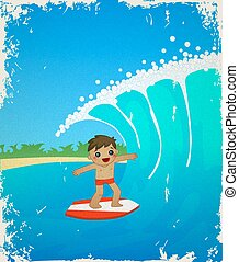 Retro card with cute cartoon surfer. Summer, sea, beach