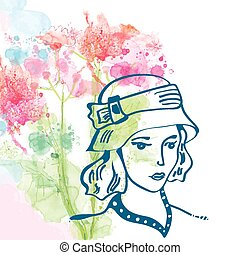 Retro card with girl in hat and floral background - watercolor s