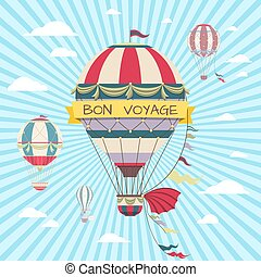 Retro card with hot air balloon. Vintage bon voyage poster
