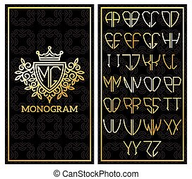 Retro card with monogram and a set of letters for design