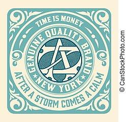Retro card with monogram