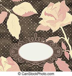 Retro card with stylized rose. EPS 8