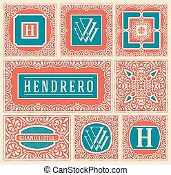 Retro cards set. Vector Layered