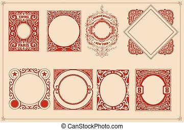 Retro cards templates set