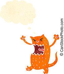 retro, caricatura, gato gengibre