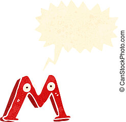 retro, caricatura, letra m, con, burbuja del discurso