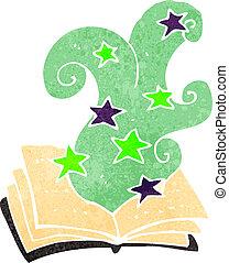 retro, caricatura, mágico soletra, livro