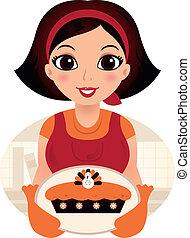 retro, caricatura, mulher, servindo, ação graças, alimento