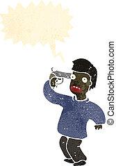 retro, caricatura, niño, con, arma de fuego, a, cabeza