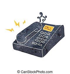 retro, caricatura, telefone escritório