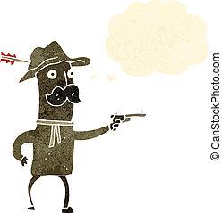 retro, caricatura, vaquero, con, arma de fuego