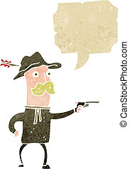 retro, caricatura, vaquero, disparando