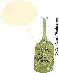 retro, caricatura, vino blanco, botella