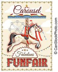 Retro Carousel Poster - Retro funfair or amusement park...