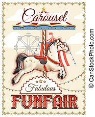 Retro Carousel Poster - Retro funfair or amusement park...