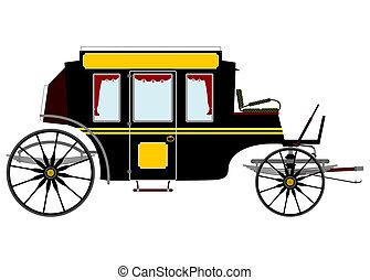 Retro carriage on a white background.