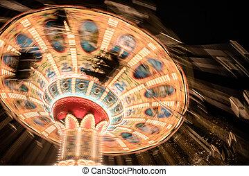retro, carrousel, dans, les, amusement, park.