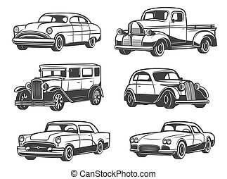 Retro cars and vehicles vintage, vector - Retro cars and...