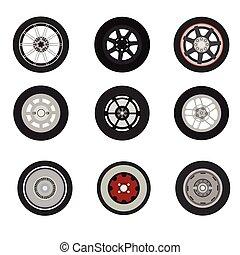 Retro cars classic and sport cars wheel set vector  illustration