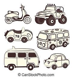 Retro cars icons set