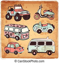 Retro cars icons set