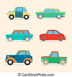 Retro cars  set .