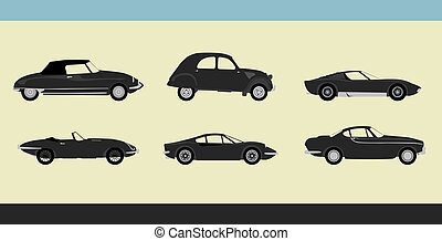 Retro cars - Vector of old-fashioned retro cars