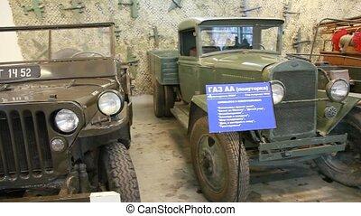 Retro cars within museum of film studio MOSFILM